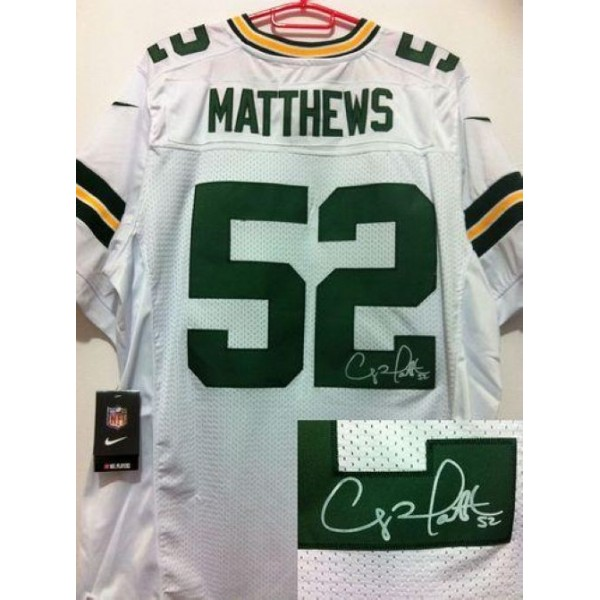 Nike Packers #52 Clay Matthews White Men's Stitched NFL Elite Autographed Jersey