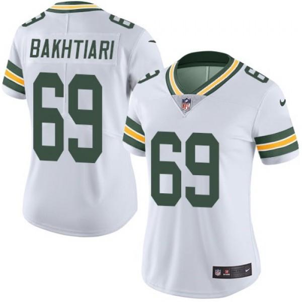 Women's Packers #69 David Bakhtiari White Stitched NFL Vapor Untouchable Limited Jersey