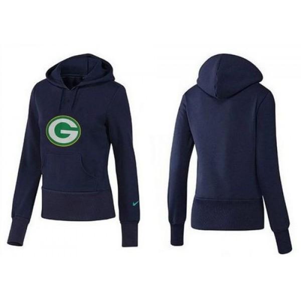 Women's Green Bay Packers Logo Pullover Hoodie Blue Jersey
