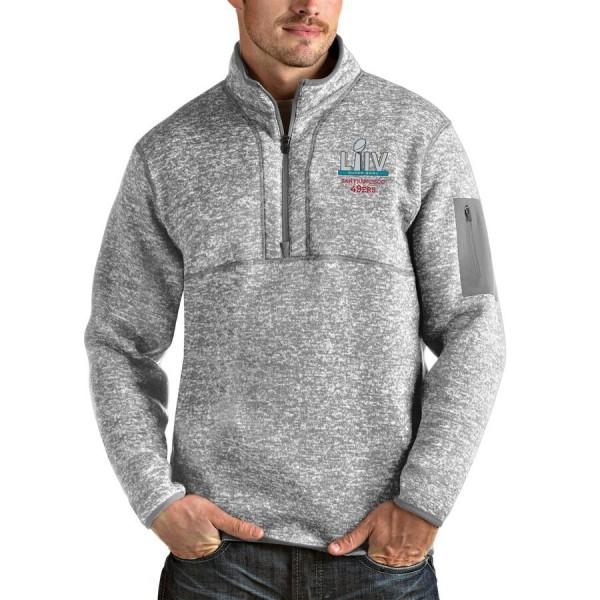 Men's San Francisco 49ers NFL Heather Gray Super Bowl LIV Bound Fortune Quarter-Zip Pullover Jacket