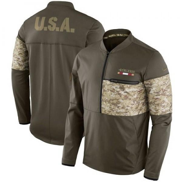 Men's San Francisco 49ers Nike Olive Salute to Service Sideline Hybrid Half-Zip Pullover Jacket
