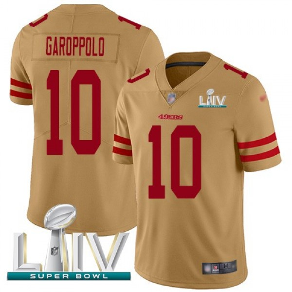 Nike 49ers #10 Jimmy Garoppolo Gold Super Bowl LIV 2020 Men's Stitched NFL Limited Inverted Legend Jersey