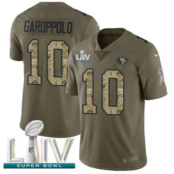Nike 49ers #10 Jimmy Garoppolo Olive/Camo Super Bowl LIV 2020 Men's Stitched NFL Limited 2017 Salute To Service Jersey