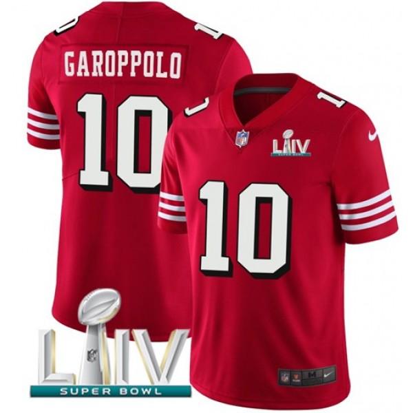 Nike 49ers #10 Jimmy Garoppolo Red Super Bowl LIV 2020 Team Color Men's Stitched NFL Vapor Untouchable Limited II Jersey