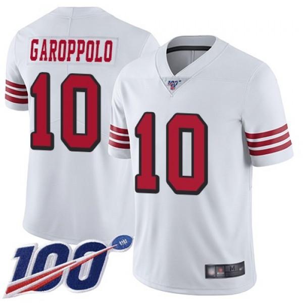 Nike 49ers #10 Jimmy Garoppolo White Rush Men's Stitched NFL Limited 100th Season Jersey