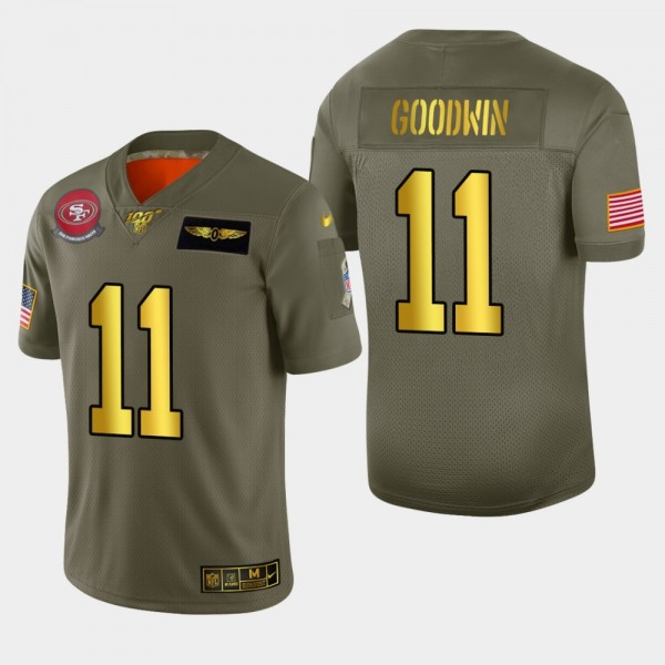 Nike 49ers #11 Marquise Goodwin Men's Olive Gold 2019 Salute to Service NFL 100 Limited Jersey