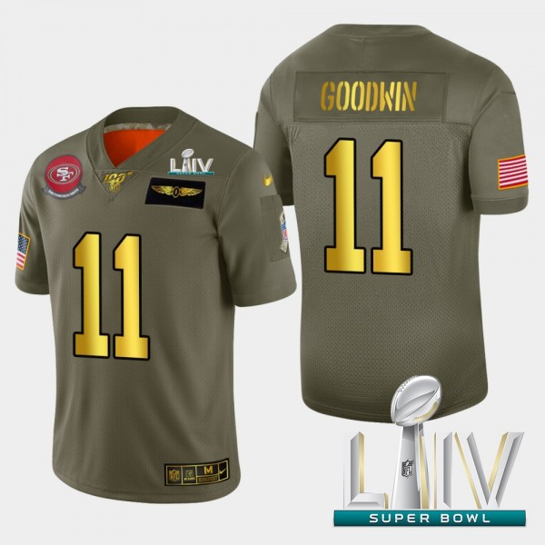 Nike 49ers #11 Marquise Goodwin Men's Olive Gold Super Bowl LIV 2020 2019 Salute to Service NFL 100 Limited Jersey