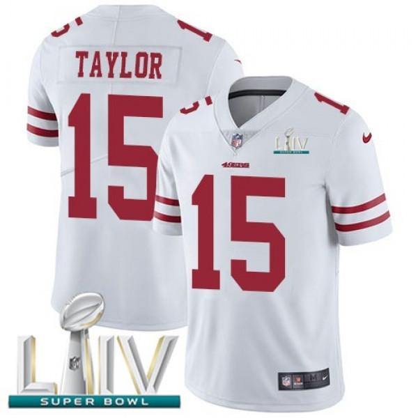 Nike 49ers #15 Trent Taylor White Super Bowl LIV 2020 Men's Stitched NFL Vapor Untouchable Limited Jersey