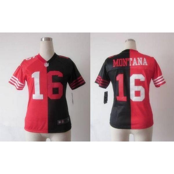 Women's 49ers #16 Joe Montana Black Red Stitched NFL Elite Split Jersey