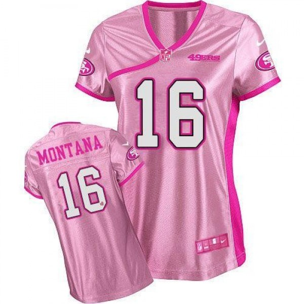 Women's 49ers #16 Joe Montana Pink Be Luv'd Stitched NFL Elite Jersey