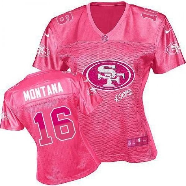 Women's 49ers #16 Joe Montana Pink Fem Fan NFL Game Jersey
