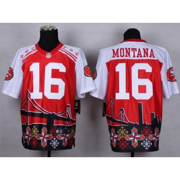Nike 49ers #16 Joe Montana Red Men's Stitched NFL Elite Noble Fashion Jersey