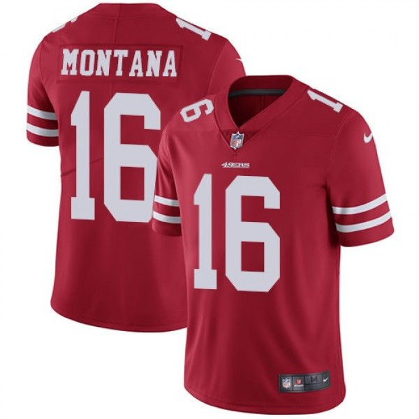 Nike 49ers #16 Joe Montana Red Team Color Men's Stitched NFL Vapor Untouchable Limited Jersey