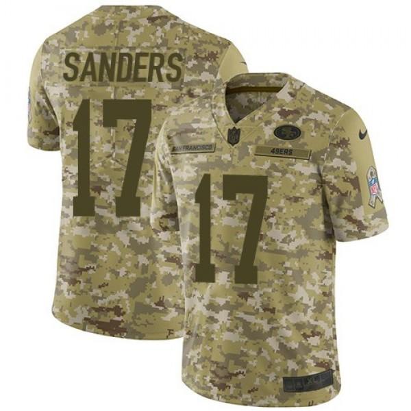 Nike 49ers #17 Emmanuel Sanders Camo Men's Stitched NFL Limited 2018 Salute To Service Jersey