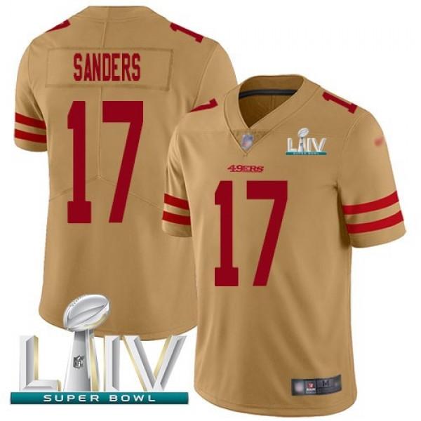 Nike 49ers #17 Emmanuel Sanders Gold Super Bowl LIV 2020 Men's Stitched NFL Limited Inverted Legend Jersey
