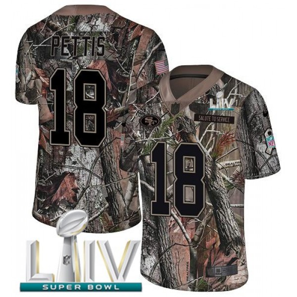 Nike 49ers #18 Dante Pettis Camo Super Bowl LIV 2020 Men's Stitched NFL Limited Rush Realtree Jersey