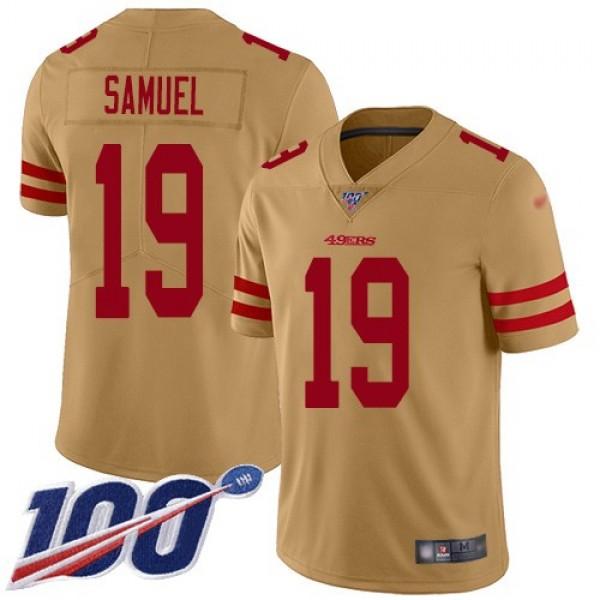 Nike 49ers #19 Deebo Samuel Gold Men's Stitched NFL Limited Inverted Legend 100th Season Jersey