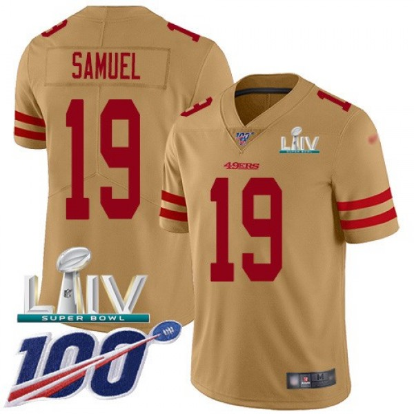 Nike 49ers #19 Deebo Samuel Gold Super Bowl LIV 2020 Men's Stitched NFL Limited Inverted Legend 100th Season Jersey