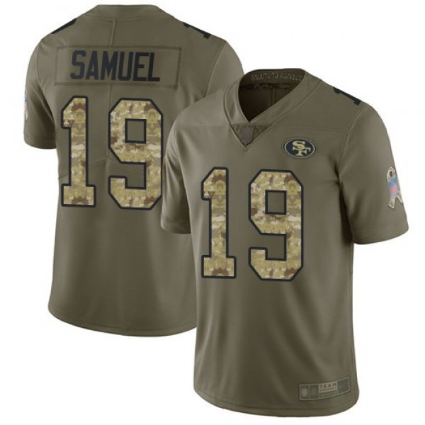 Nike 49ers #19 Deebo Samuel Olive/Camo Men's Stitched NFL Limited 2017 Salute To Service Jersey