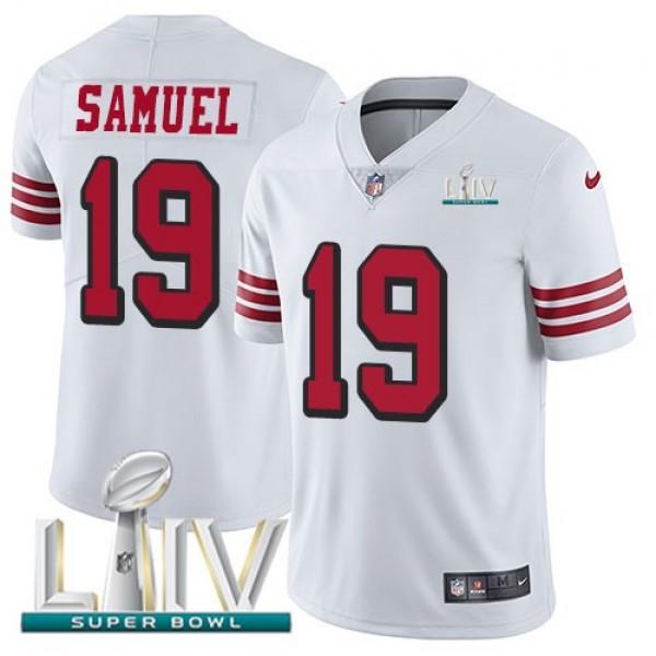 Nike 49ers #19 Deebo Samuel White Super Bowl LIV 2020 Rush Men's Stitched NFL Vapor Untouchable Limited Jersey