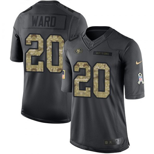 Nike 49ers #20 Jimmie Ward Black Men's Stitched NFL Limited 2016 Salute to Service Jersey