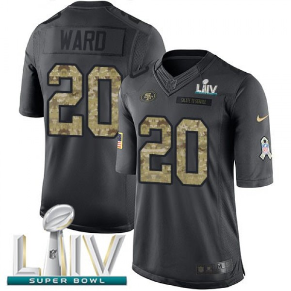 Nike 49ers #20 Jimmie Ward Black Super Bowl LIV 2020 Men's Stitched NFL Limited 2016 Salute to Service Jersey