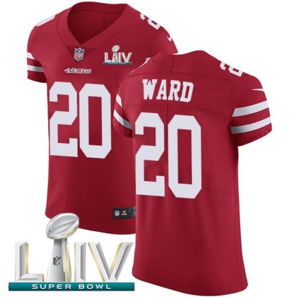 Nike 49ers #20 Jimmie Ward Red Super Bowl LIV 2020 Team Color Men's Stitched NFL Vapor Untouchable Elite Jersey