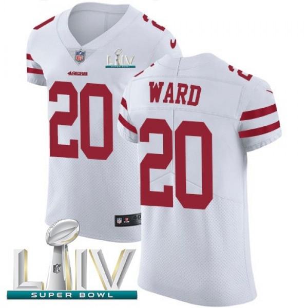 Nike 49ers #20 Jimmie Ward White Super Bowl LIV 2020 Men's Stitched NFL Vapor Untouchable Elite Jersey