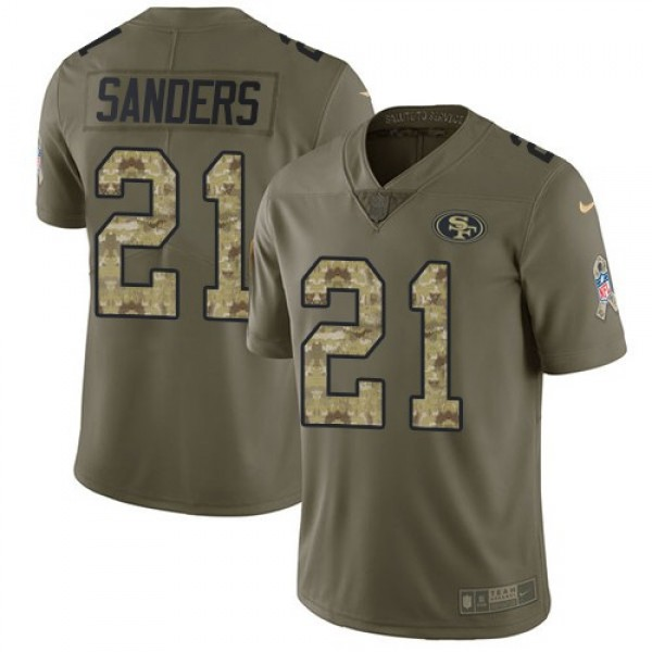 Nike 49ers #21 Deion Sanders Olive/Camo Men's Stitched NFL Limited 2017 Salute To Service Jersey