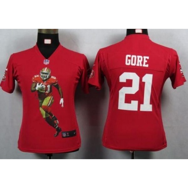 Women's 49ers #21 Frank Gore Red Team Color Portrait NFL Game Jersey