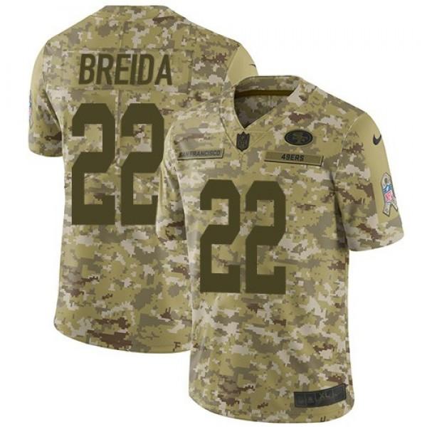 Nike 49ers #22 Matt Breida Camo Men's Stitched NFL Limited 2018 Salute To Service Jersey