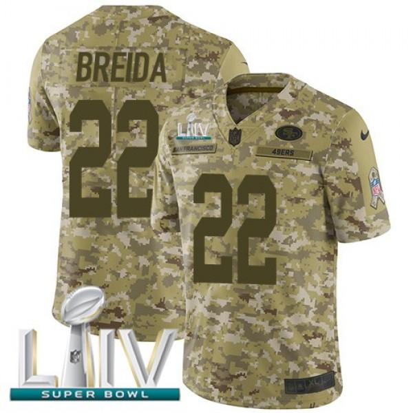 Nike 49ers #22 Matt Breida Camo Super Bowl LIV 2020 Men's Stitched NFL Limited 2018 Salute To Service Jersey