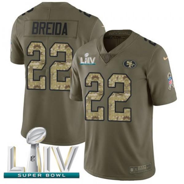 Nike 49ers #22 Matt Breida Olive/Camo Super Bowl LIV 2020 Men's Stitched NFL Limited 2017 Salute To Service Jersey
