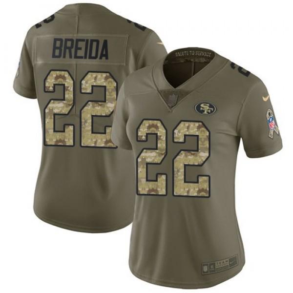Women's 49ers #22 Matt Breida Olive Camo Stitched NFL Limited 2017 Salute to Service Jersey
