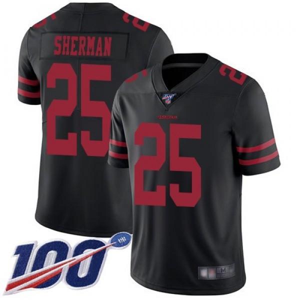 Nike 49ers #25 Richard Sherman Black Alternate Men's Stitched NFL 100th Season Vapor Limited Jersey