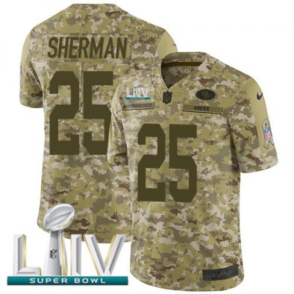 Nike 49ers #25 Richard Sherman Camo Super Bowl LIV 2020 Men's Stitched NFL Limited 2018 Salute To Service Jersey