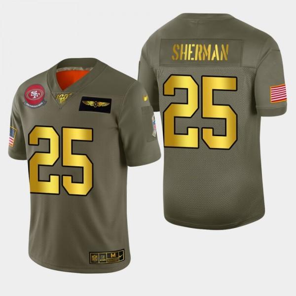 Nike 49ers #25 Richard Sherman Men's Olive Gold 2019 Salute to Service NFL 100 Limited Jersey