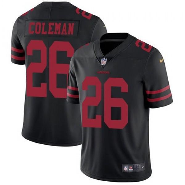 Nike 49ers #26 Tevin Coleman Black Alternate Men's Stitched NFL Vapor Untouchable Limited Jersey