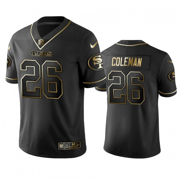 Nike 49ers #26 Tevin Coleman Black Golden Limited Edition Stitched NFL Jersey