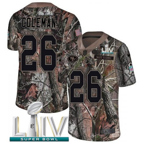 Nike 49ers #26 Tevin Coleman Camo Super Bowl LIV 2020 Men's Stitched NFL Limited Rush Realtree Jersey