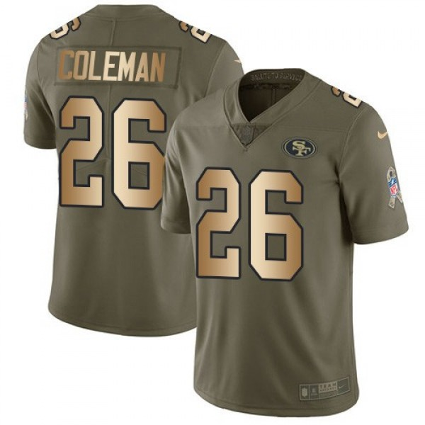 Nike 49ers #26 Tevin Coleman Olive/Gold Men's Stitched NFL Limited 2017 Salute To Service Jersey