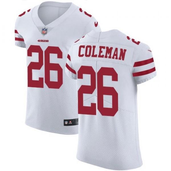 Nike 49ers #26 Tevin Coleman White Men's Stitched NFL Vapor Untouchable Elite Jersey