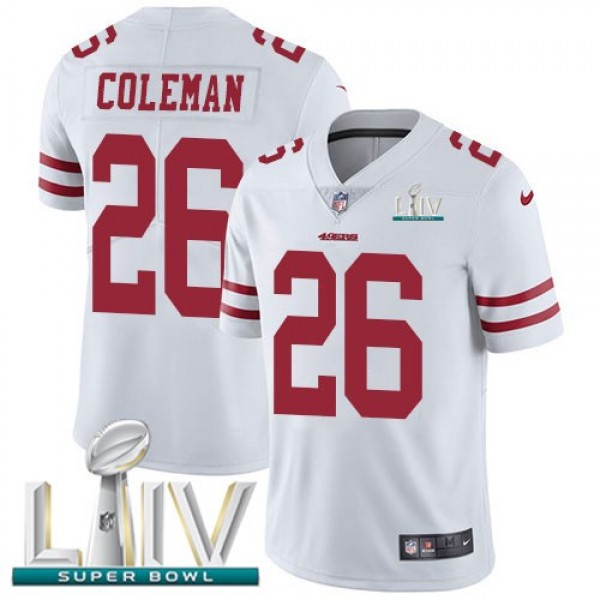 Nike 49ers #26 Tevin Coleman White Super Bowl LIV 2020 Men's Stitched NFL Vapor Untouchable Limited Jersey