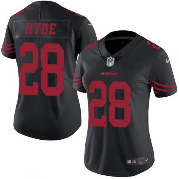 Women's 49ers #28 Carlos Hyde Black Stitched NFL Limited Rush Jersey