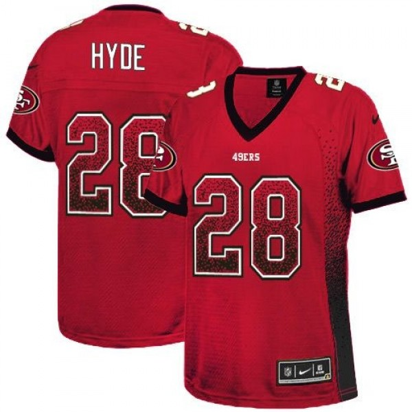 Women's 49ers #28 Carlos Hyde Red Team Color Stitched NFL Elite Drift Jersey