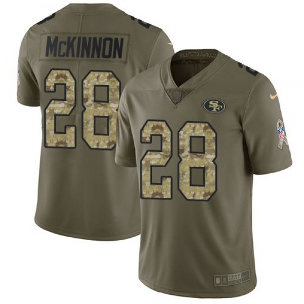 Nike 49ers #28 Jerick McKinnon Olive/Camo Men's Stitched NFL Limited 2017 Salute To Service Jersey