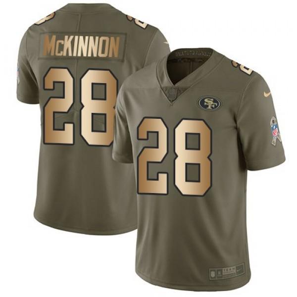 Nike 49ers #28 Jerick McKinnon Olive/Gold Men's Stitched NFL Limited 2017 Salute To Service Jersey