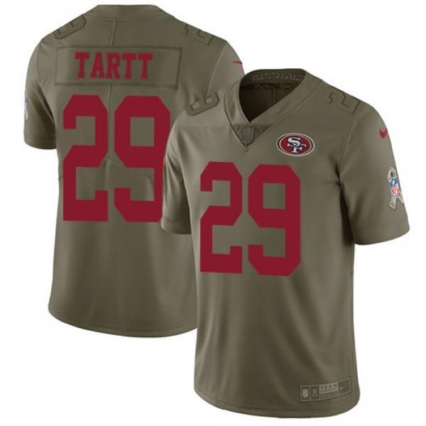 Nike 49ers #29 Jaquiski Tartt Olive Men's Stitched NFL Limited 2017 Salute To Service Jersey