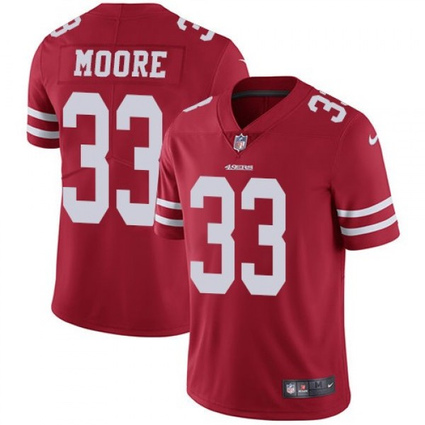 Nike 49ers #33 Tarvarius Moore Red Team Color Men's Stitched NFL Vapor Untouchable Limited Jersey