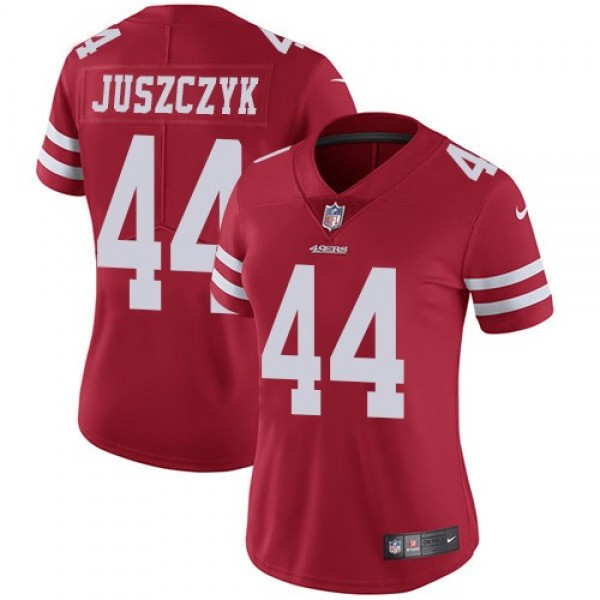 Women's 49ers #44 Kyle Juszczyk Red Team Color Stitched NFL Vapor Untouchable Limited Jersey